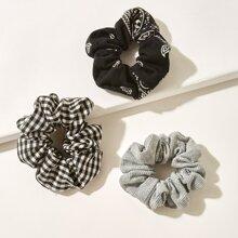 3 Stuecke Haarband mit Karo & Streifen Muster