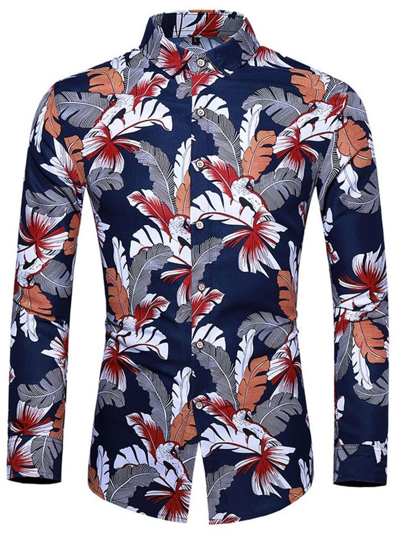 Ericdress Fashion Print Color Block Slim Mens Single-Breasted Shirt