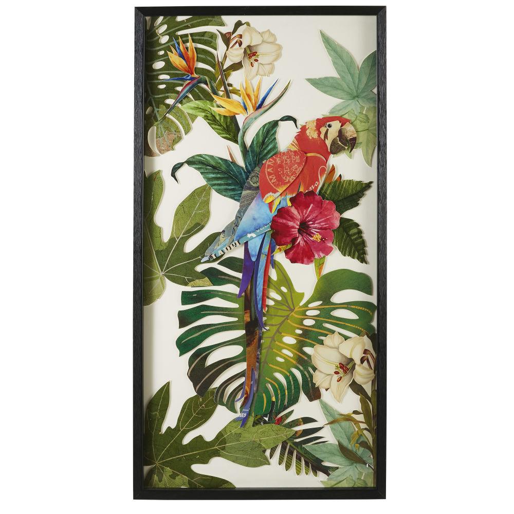 Wanddeko Papagei aus buntem Papier 50x100