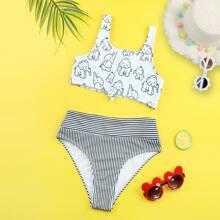 Girls Elephant & Striped Knot Front Bikini Swimsuit