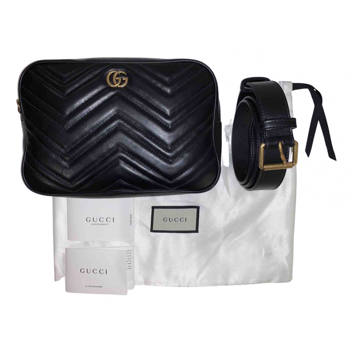 Gucci - Sac a dos Marmont pour femme en cuir - noir