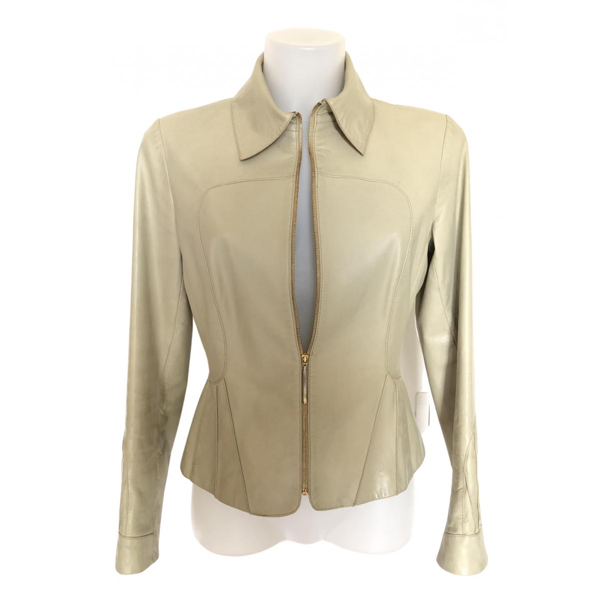 Valentino Garavani - Blouson   pour femme en cuir - beige