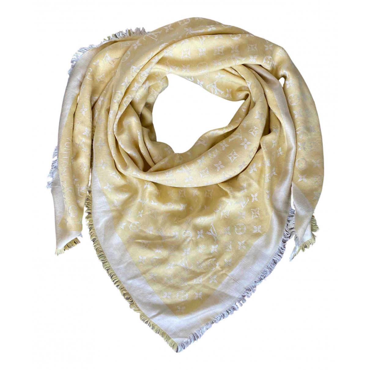 Louis Vuitton Châle Monogram Yellow Silk scarf for Women N