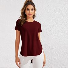 Split Side Curved Hem Rib-knit Top