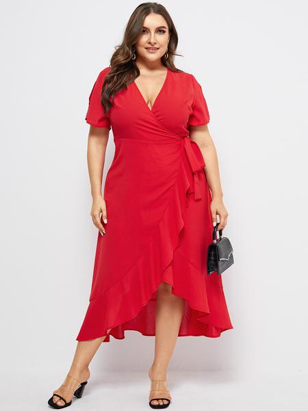 YOINS Plus Size Ruffle Trim V-neck Short Sleeves Dress