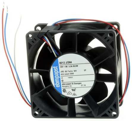 ebm-papst , 12 V dc, DC Axial Fan, 80 x 80 x 38mm, 222m³/h, 39W