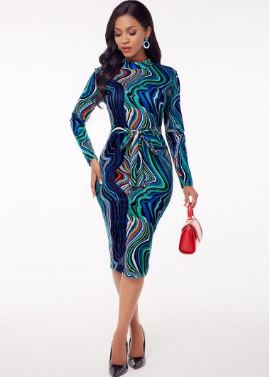 Cocktail Party Dress Printed Long Sleeve Belted Sheath Dress - 4XL