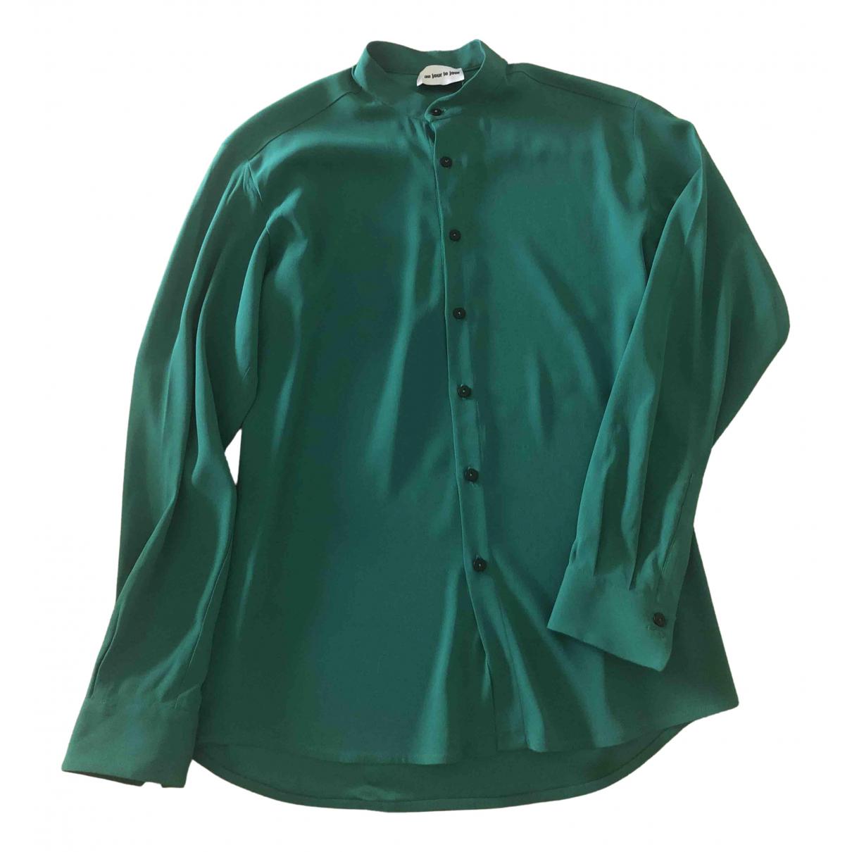Au Jour Le Jour - Top   pour femme en soie - vert