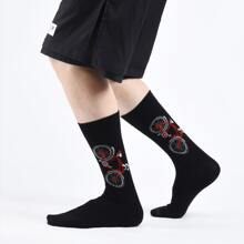 Maenner Socken mit niedrigem Schnitt und Fahrrad Muster