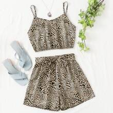 Leopard Print Crop Cami Top With Belted Shorts