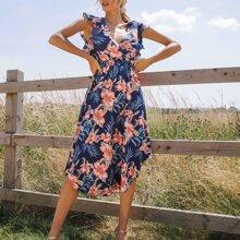 Kleid mit V Kragen, Raffung Armloch, geraffter Taille und gebogenem Saum