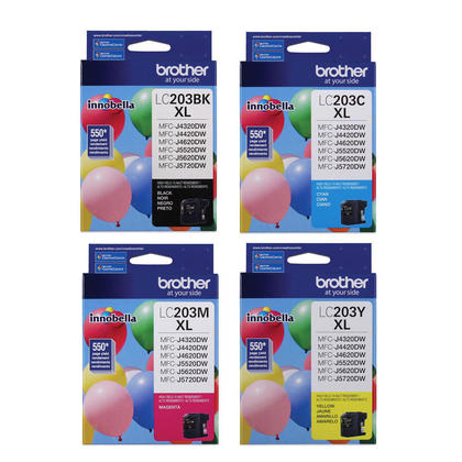 Brother LC203 Original Innobella Ink Cartridges BK/C/M/Y Combo, 4 pack - High Yield of LC201