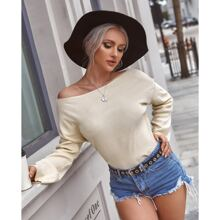 Solid Rib-Knit Boat Neck Sweater