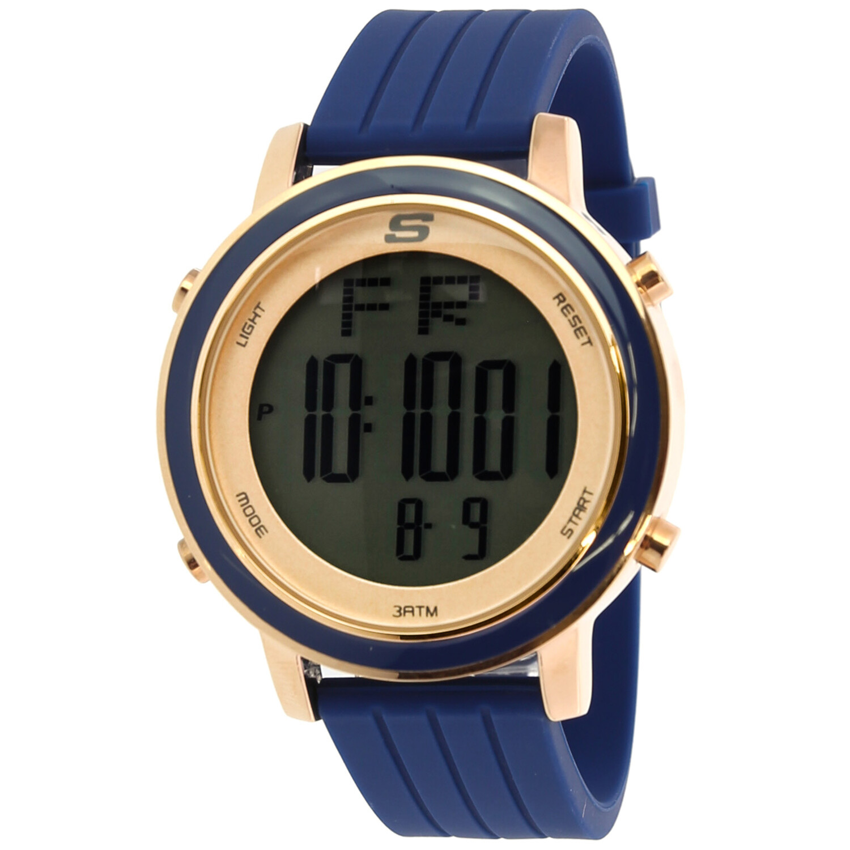 Skechers Watch SR6010 Westport, Digital Display, Chronograph, Date Function, Alarm, Backlight Display, Navy Blue Silicone Band, Rose Gold
