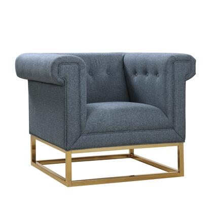 Paloma Collection FCC2889-AC Club Chair with Rolled Shelter Arms  Brushed Brass Metal Base Construction  Plush Multi Density Foam Filled Cushion and
