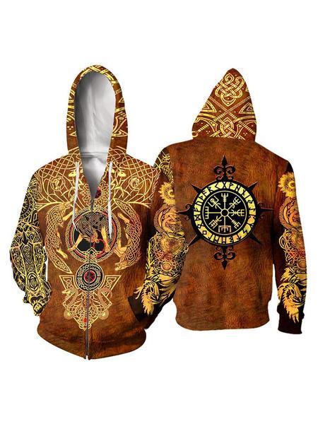 Milanoo Viking Halloween Costume 3D Print Hoodie