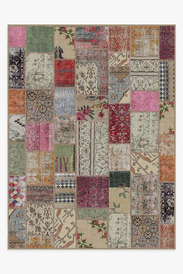 Washable Rug Cover & Pad | Patchwork Boho Rug | Stain-Resistant | Ruggable | 9'x12'