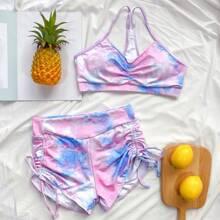 Bikini Badeanzug mit Batik und seitlichem Kordelzug