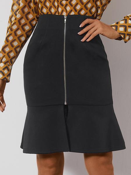 Yoins Black Zip Front Ruffle Hem Mini Skirt