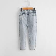 Toddler Girls Elastic Waist Jeans