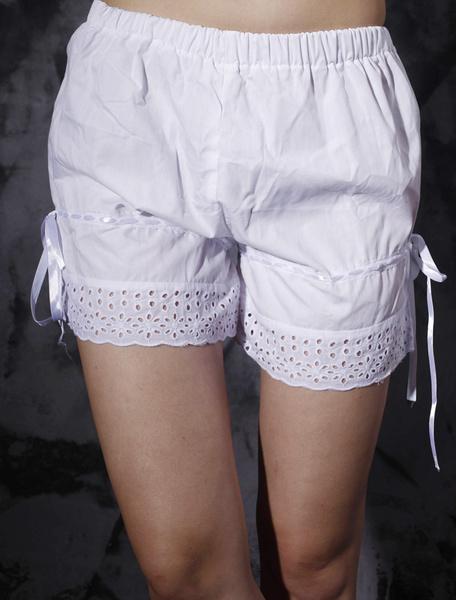 Milanoo White Cotton Lolita Bloomers Hollow Trim Ribbons