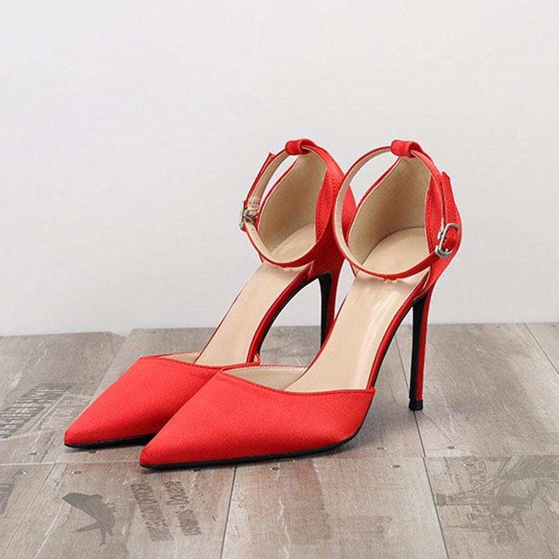 Ericdress Line-Style Buckle Stiletto Heel Pointed Toe Plain Sandals