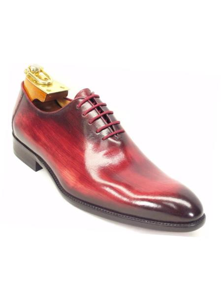 Men's Lace Up Style Calfskin Leather Oxford Shoes Burgundy