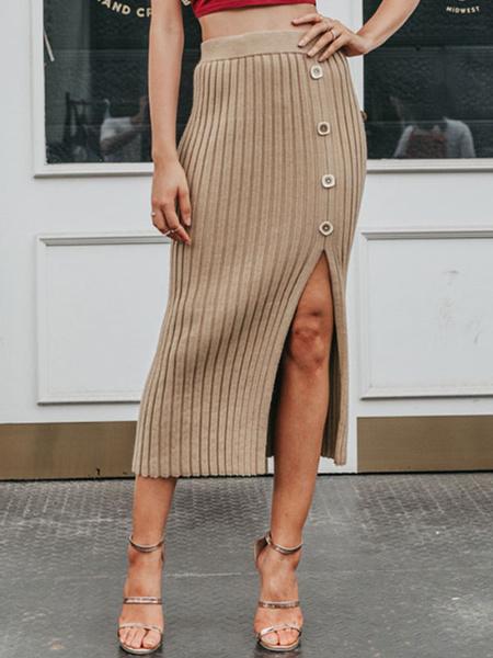 Milanoo Skirt For Women Khaki Buttons Acrylic Mid Calf Length Raised Waist Autumn And Winter Women Bottoms
