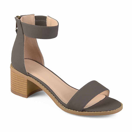 Journee Collection Womens Percy Heeled Sandals, 7 Medium, Gray