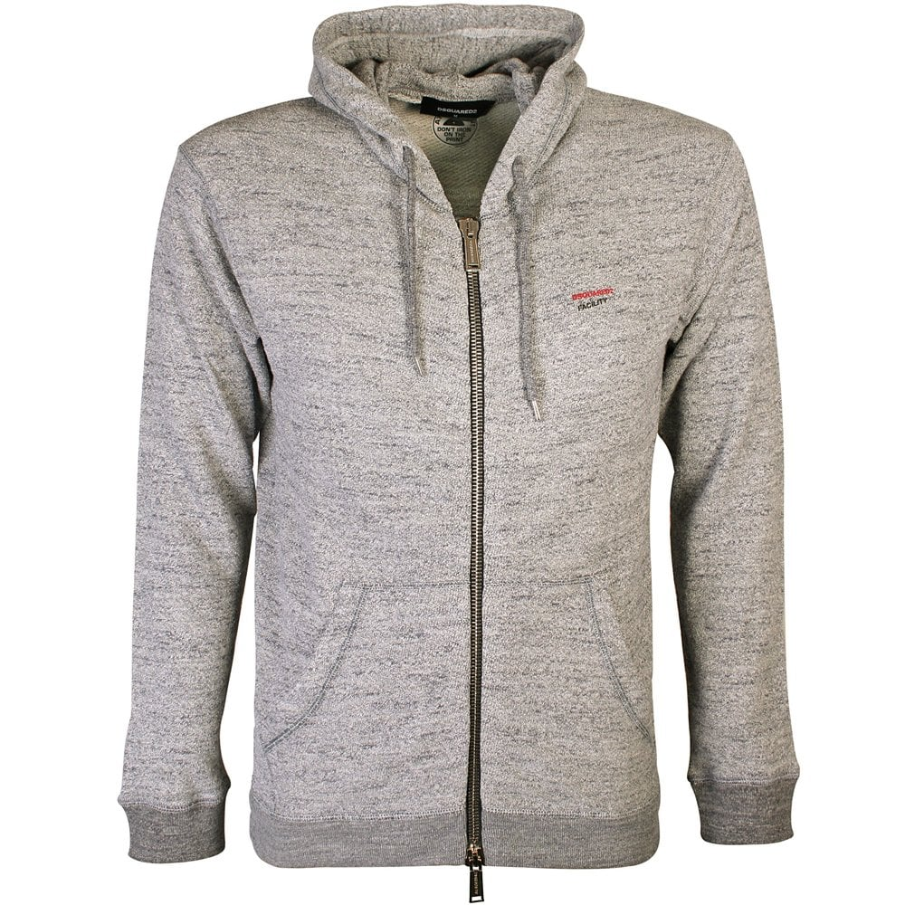 Dsquared2 Facility Logo Zipped Hoodie Colour: GREY, Size: MEDIUM
