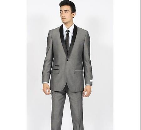 Mens Grey ~ Gray Shawl Collar Slim Fit Tuxedo Suit Black Lapel Blazer