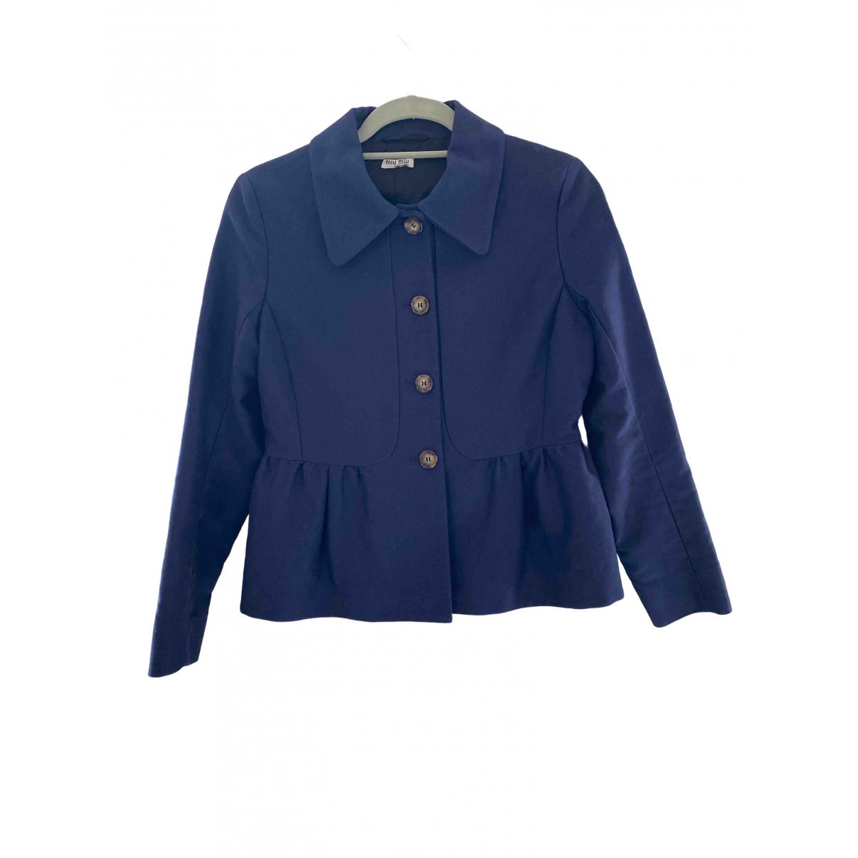 Miu Miu \N Blue Cotton jacket for Women 42 IT