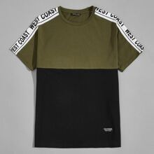 Men Contrast Letter Sideseam Patched Detail Tee