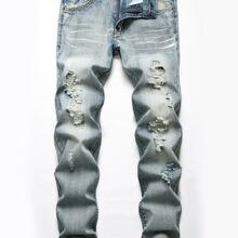Jeans mit Riss und Waschung