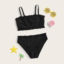 Girls Frill Trim Bikini Swimsuit