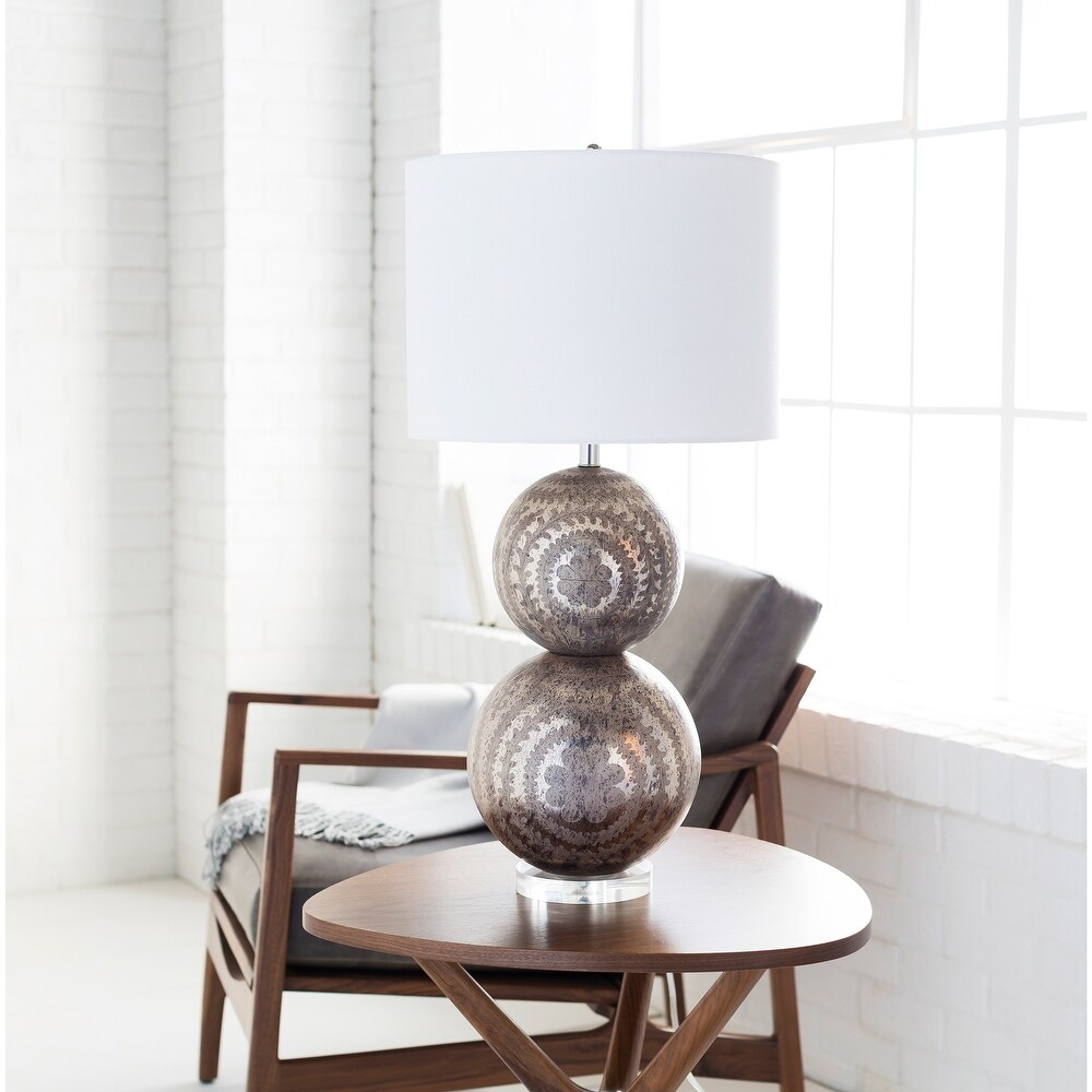 Newberry Table Lamp with Silver Base and White Shade (Newberry-TBL)