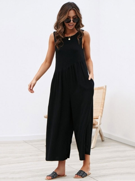 Milanoo Women Jumpsuit 2020 Pockets Cotton Blend Solid Color Backless Summer Casual Jumpsuit