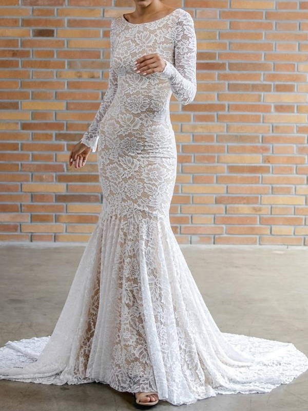 Ericdress Lace Long Sleeves Low Back Wedding Dress