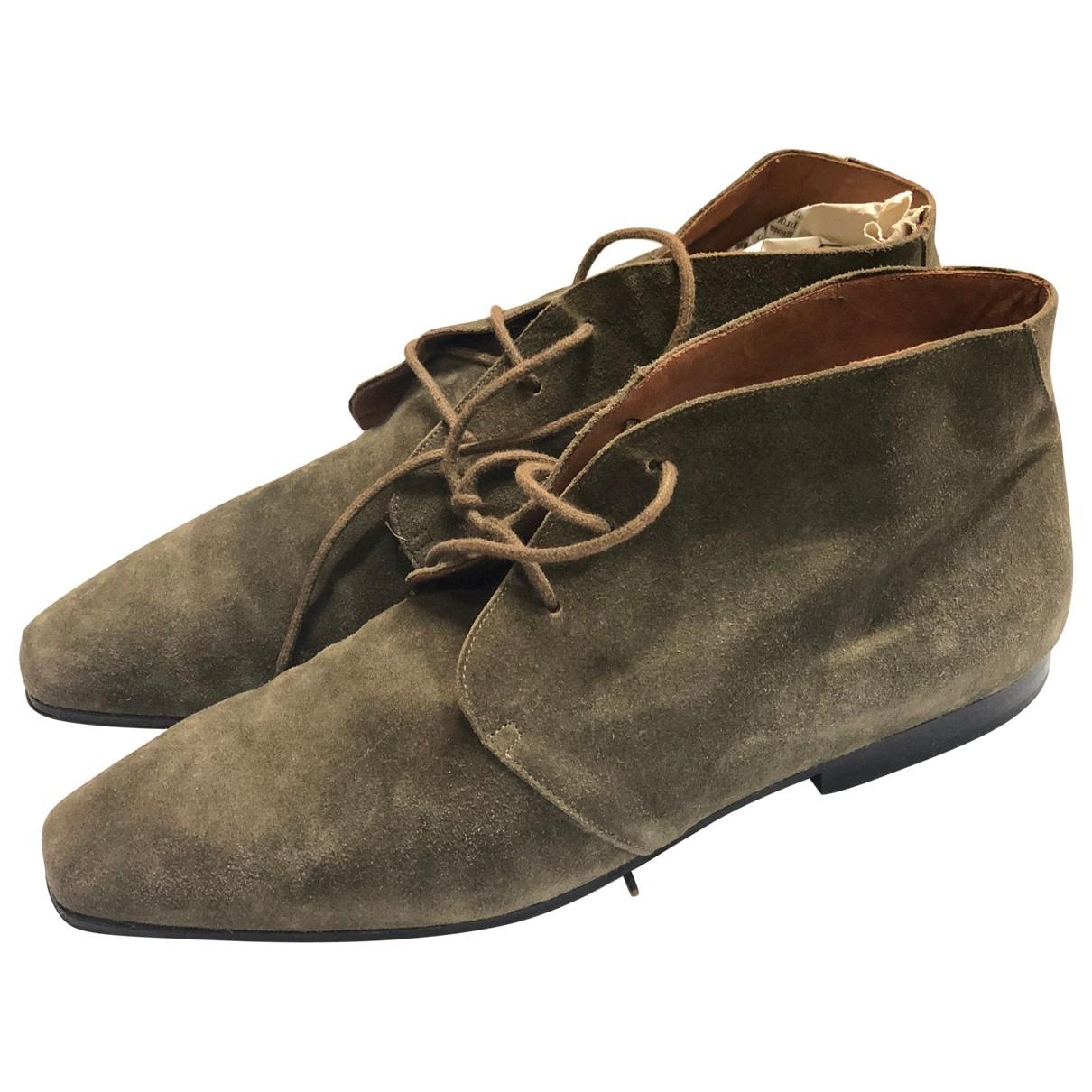 Emporio Armani - Boots   pour femme en suede - kaki