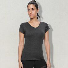 Vutru Einfarbiges Sports T-Shirt mit Kreuzgurt hinten