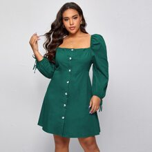Plus Square Neck Puff Sleeve Button Front Dress