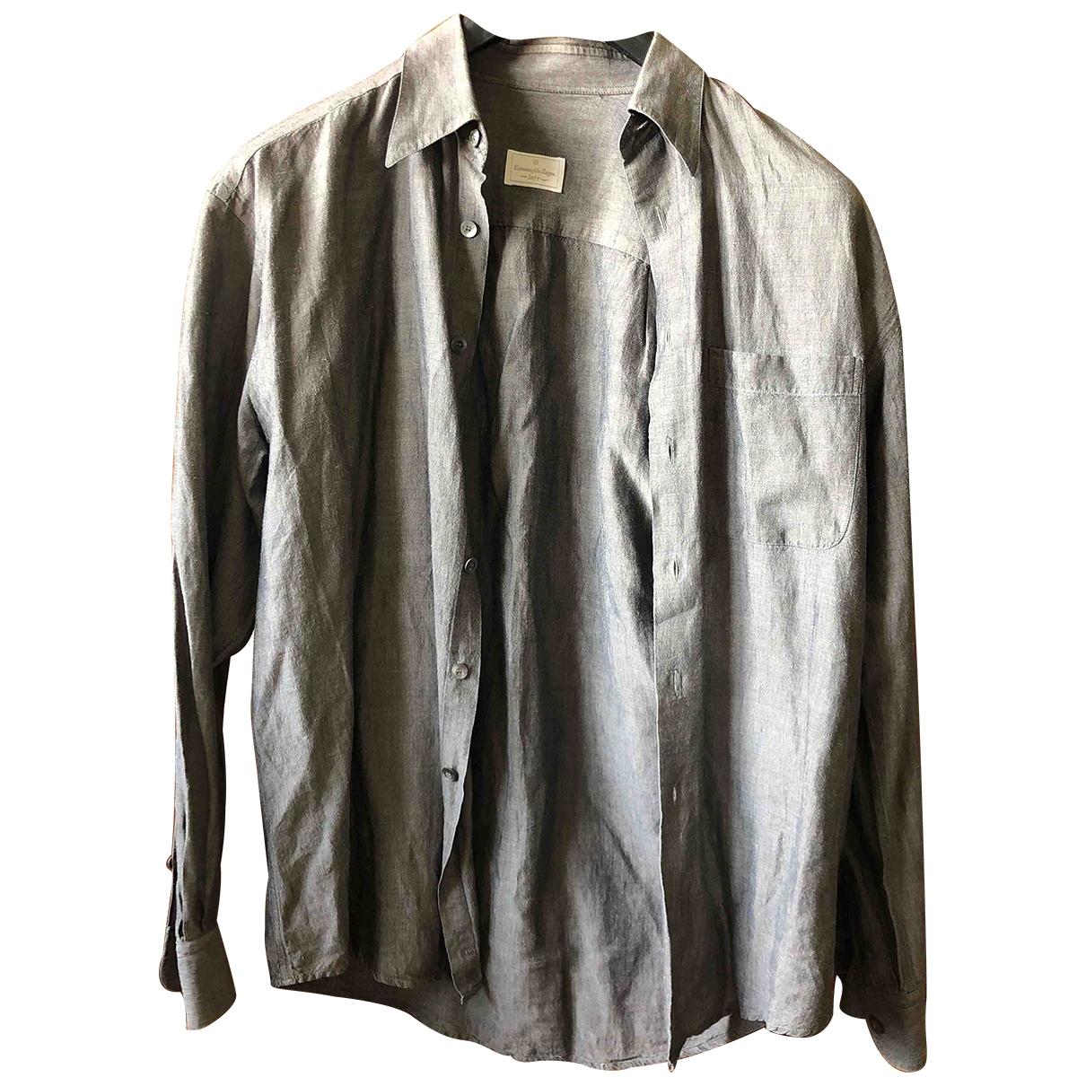 Ermenegildo Zegna - Chemises   pour homme en lin - gris