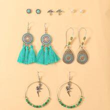 6pairs Tassel Decor Drop Earrings