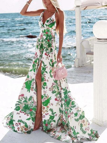 Milanoo Vestido largo Sin mangas Halter verde Estampado floral Poliester Hasta el suelo Vestido de playa