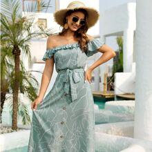 Allover Irregular Lines Print Ruffle Trim Belted Bardot Dress