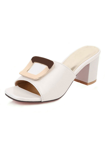 Milanoo Womens White Sandals Patent Leather Open Toe Plus Size Block Heel Shoes