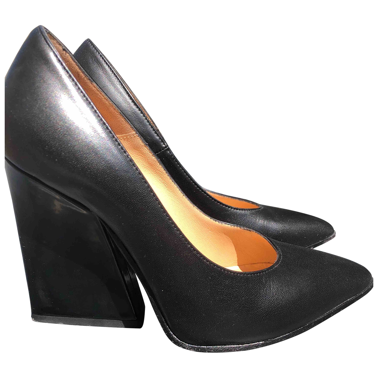 Non Signé / Unsigned \N Black Leather Heels for Women 36 EU
