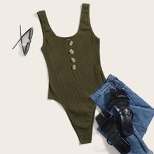 Plus Button Front Rib-knit Tank Bodysuit