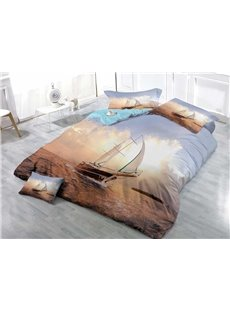 Boat Sailing on the Ocean Wear-resistant Breathable High Quality 60s Cotton 4-Piece 3D Bedding Sets