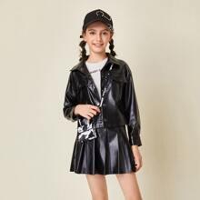 Conjunto cazadora PU tapeta con boton con bolsillo con solapa con falda con fruncido